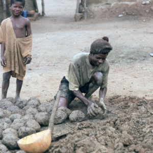 Akwasi Nyua Tonyaa of Dompofie shapes balls of earthen material in preparation for building an atakpame wall while son Wayo Fordjour looks on, 1982. (Photo: Ann B. Stahl)