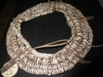 Necklace made of ostrich egg shell beads
