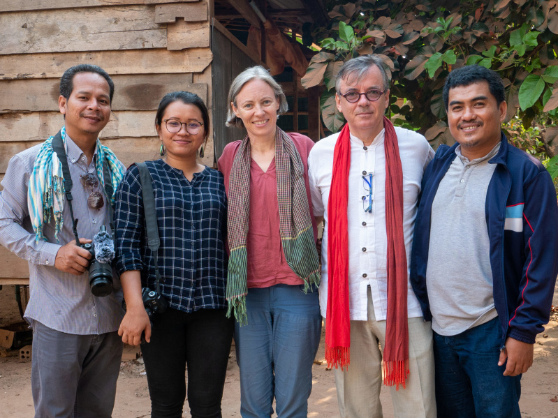 Angkuoch Project Research Team. Left to right: Thon Dika, Say Tola, Catherine Grant, Patrick Kersale, Song Seng (Photo: Mith NARONG, 10 January 2020).